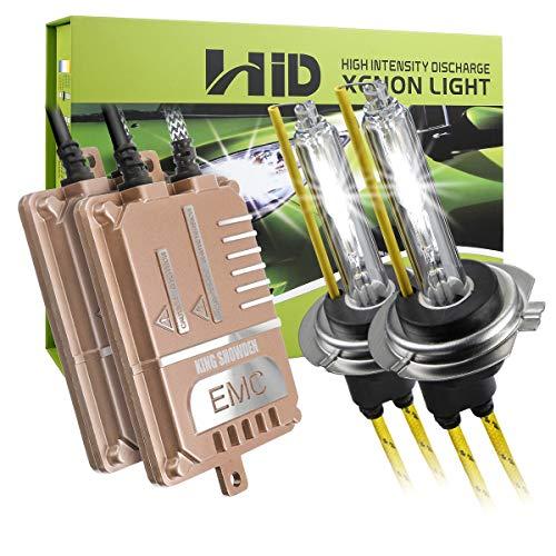 H7 HID-Umrüstsatz 55W, KingShowden canbus fehlerfrei Kein Flimmern keine Warnung Digitaler HID-Ballast-Xenon-Lampen-Satz mit Decoder-Lastwiderstand (6000k)