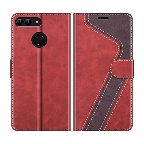 MOBESV Handyhülle für Huawei P Smart 5,65 Zoll, Huawei P Smart Hülle Leder, Huawei P Smart Klapphülle Handytasche Case für Huawei P Smart Handy Hüllen, Rot