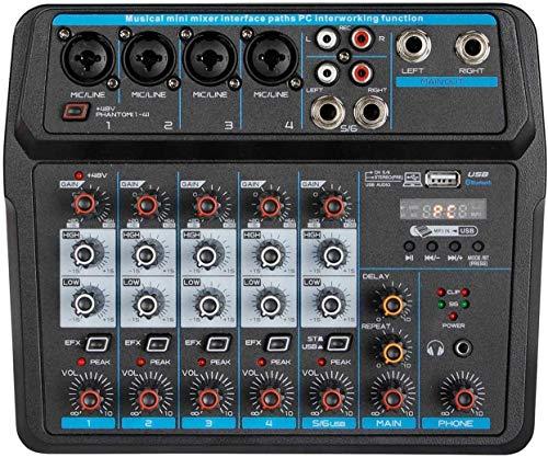 Depusheng U6 Consola de mezcla de sonido Bluetooth USB Grabación en computadora Reproducción de 48 V Phantom Power Delay Efecto de repetición Mezclador de audio USB de 6 canales para grabación en PC