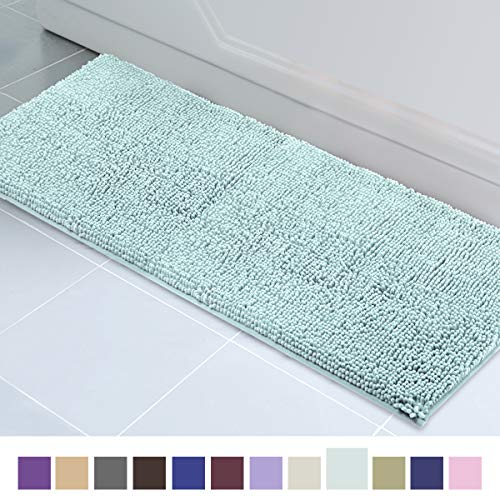 ITSOFT Non Slip Shaggy Chenille Soft Microfibers Runner Large Bath Mat for Bathroom Rug Water Absorbent Carpet, Machine Washable, 21 x 59 Inches Spa Blue