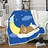 Chifave Bear Blanket, 50'x 60' Kids Throw Blankets Super Soft Fluffy Comfortable Flannel Fleece Couch Bed Premium Polyester Children Cute Cartoon Wild Bears Blanket for All Season