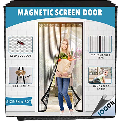 """LOOCH Magnetic Screen Door with Heavy Duty Mesh Curtain, Fits Door Up to 34"""" x 82"""" Keeps Bugs Out"""