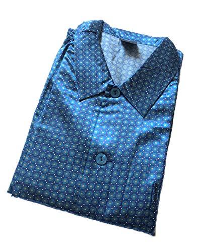 Edler Satin-Pyjama für Herren in Übergröße, durchgeknöpfter Schlafanzug - 18758, Größe2:60, Farbe:blau