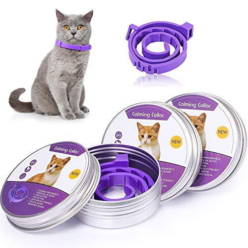 Weewooday Collar calmante natural de larga duración, ajustable e impermeable, para reducir la ansiedad o el estrés, apto para gatos pequeños, medianos y grandes (15 pulgadas)
