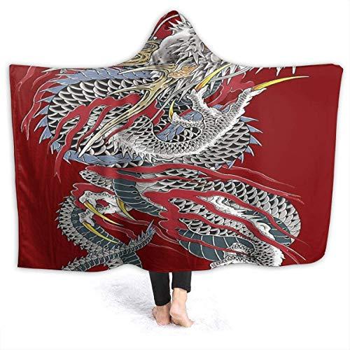 Space surprise Yakuza Drache Tattoo Decke Neuheit Sherpa Plüsch Überwurf tragbare Fleece-Decke für Couch Sofa 127 cm x 40 cm