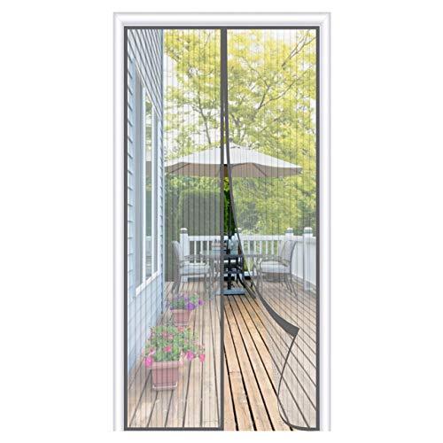 OOWOLF Magnet Fliegengitter Balkontür 100 × 220cm, Magnet Fliegengitter Tür Insektenschutz ohne Bohren, 34 Stück Magnete Automatisch schließen, für Balkontür, Terrassentür, Wohnzimmer, Grau