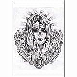 Santa Muerte by Mouse Lopez Black White Mexican Tattoo Portrait Wall Art Print