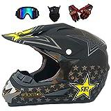 Casco de Descenso para Adultos Regalos Gafas máscara Guantes BMX MX ATV DH Carrera en Bicicleta de Cara Completa Casco Integral,D,M(56~57) CM