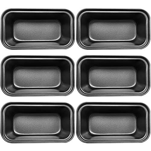 Loaf Pan,6 Pcs Non-Stick Mini Loaf Pan Set and Bread Pan,Carbon Steel Bread Pan for Bread,Cakes,Quiche and Brownies