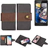 K-S-Trade® Handy-Hülle Schutz-Hülle Bookstyle Wallet-Case Für -Fairphone Fairphone 2- Bumper R&umschutz Schwarz-braun 1x