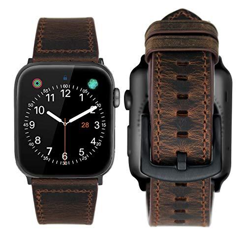 iBazal Lederarmband Ersatz für iWatch Series 5 4 3 2 1 Armband 44mm 42mm Leder Uhrenarmband Lederband Armbänder Ersatzarmband Uhrarmband Watchband Ersatzband Herren Uhr Watch Bands - Kaffee 42/44