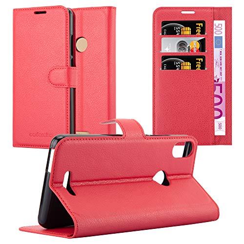 Cadorabo Hülle für WIKO View MAX in Karmin ROT - Handyhülle mit Magnetverschluss, Standfunktion & Kartenfach - Hülle Cover Schutzhülle Etui Tasche Book Klapp Style