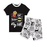 Pijama corto de verano para niños y niñas Negro Negro ( 13-14 Años