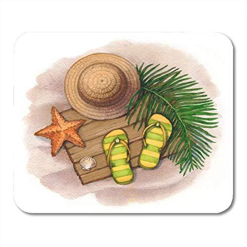 Mauspads Aloha Beach Sommerferien Strohhut Flip Flops Muscheln Und Seesterne Tropical Ashore Mauspad Für Notebooks, Desktop-Computer Mausmatten, Büromaterial