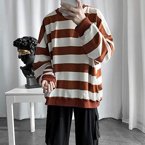 KULIXI Sudaderas Hombre Sudaderas Sueltas Ocasionales Oversized Spring Striped Hombre Invierno Homme Ropa-CC391 Caqui_XS
