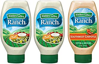 Hidden Valley Party Pack – 2 Easy Squeeze Original Ranch Salad Dressing & Topping & 1 Easy Squeeze Southwest Chipotle Ranch Salad Dressing & Topping (3 Pack, 60oz Total) – Gluten-Free & Keto-Friendly