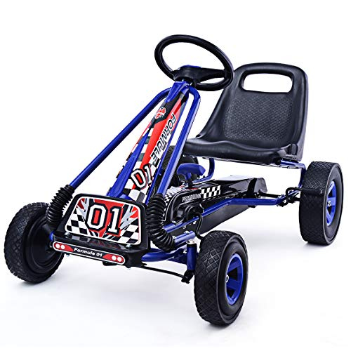 COSTWAY Gokart für Kinder ab 3 Jahre, Go Cart mit Bremsen, Tretauto Verstellbarer Sitz, Pedal Gokart Tretfahrzeug Pedalfahrzeug Kinderfahrzeug 101x61x62cm (blau)