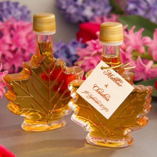 Mansfield Maple Pure Vermont Maple Syrup Wedding Favors Set of 24 50ml Glass Leaf Bottles