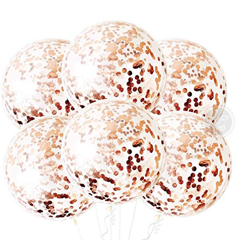 Metallic Rose Gold Balloons for Birthday Decorations - Large, 36 Inch | Rose Gold Balloon Garland with Confetti for Baby Shower | Giant Rose Gold Balloons Confetti for Bachelorette Party Supplies