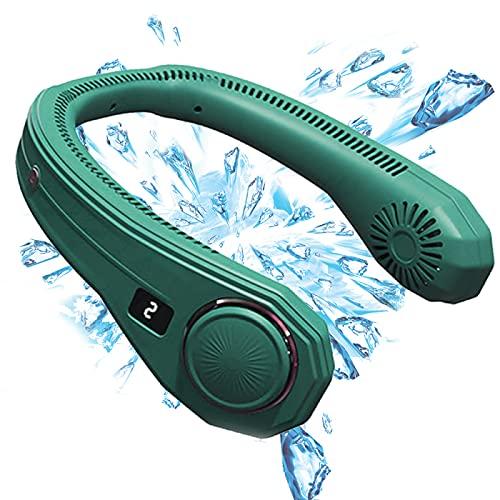 YAHAO Cuello de Aire Acondicionado Personal, Ventilador de Cuello Sin Cuchillas Ventilador de Cuello Portátil,Ventilador de Cuello Personal Recargable por USB de 4000 MAh,Green