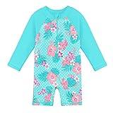HUAANIUE Kinder Badeanzug Ärmeln Bademode Badekleidung für Schwimmen Schwimmsportbekleidung UPF 50+ UV-Schutz Cyan 0-6 Jahre