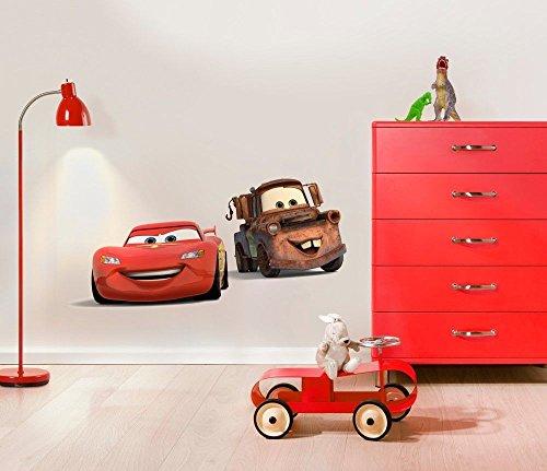 Komar - Disney - Deco-Sticker CARS FRIENDS - 50x70cm - Wandtattoo, Wandsticker, Wandaufkleber, Wandbild, Auto, Rennauto, Lightning McQueen -14015h, Braun/Rot