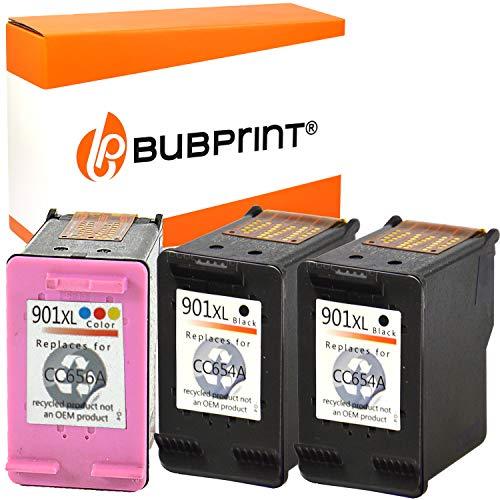 3 Bubprint Druckerpatronen kompatibel für HP 901 XL für OfficeJet 4500 Wireless J4500 J4524 J4535 J4540 J4545 J4550 J4580 J4600 J4585 J4624 J4660 J4680 J4680C Schwarz und Dreifarbig