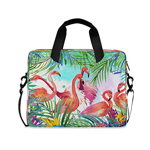 Computer Carrying Case for Adult Kids Laptop Bag Tropical Pink Flamingo Computer Bags 13-15.6 inch Laptop Sleeve Case Laptop Shoulder Bag Laptop Carrying Bag with Strap Handle