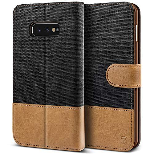 BEZ Handyhülle für Samsung Galaxy S10e Hülle, Tasche Kompatibel für Samsung Galaxy S10e, Schutzhüllen aus Klappetui mit Kreditkartenhaltern, Ständer, Magnetverschluss, Schwarz