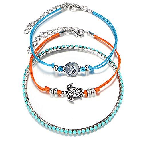 Yakiki Böhmische Schildkröte Rune om Schnur Armband Armreif für Mädchen Einfache Blaue Perlen Stretch Handkette Mehrere Schichten Damen Tricolor Bracelet Bangle Set