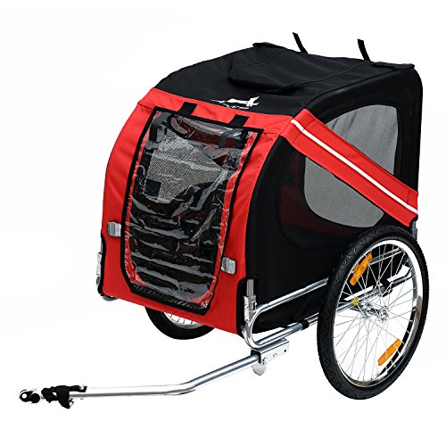 PawHut Pet Trailer Bike Bicycle Dog Cat Carrier w/Drawbar Hitch, Black and Red (5663-0062)
