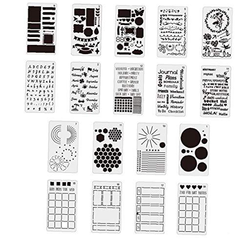Planificador Diario 18pcs Plantillas de plástico Conjunto de plástico plantillas de bricolaje Planificador Pintura conjunto de patrones para diario del libro de recuerdos del cuaderno DIY de dibujo