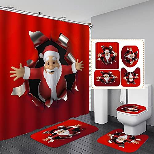 Maktn Weihnachten Duschvorhang, Weihnachtsmann Schneeflockenrahmen Weihnachtsbaum Badezimmer 4-teiliges Set, Für Badezimmer Fußmatte Dekoriert Badezimmer (C,180 x 180 cm)