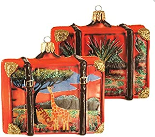 Africa Suitcase Giraffe Polish Glass Christmas Ornament Travel Souvenir