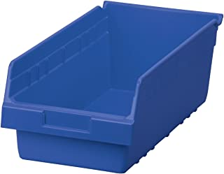Akro-Mils 30088 ShelfMax Plastic Nesting Shelf Bin Box, 18-Inch L by 8-Inch W by 6-Inch H, Blue, Case of 8