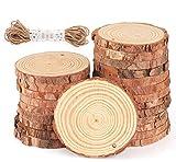 ilauke Holzscheiben 30 Stücke Holz Log Scheiben 8-9cm mit Loch und 10 mt Jute Seil Naturholzscheiben Holz Deko für DIY Handwerk Holz-Scheiben Hochzeit Mittelstücke Weihnachten Dekoration Baumscheibe - 6