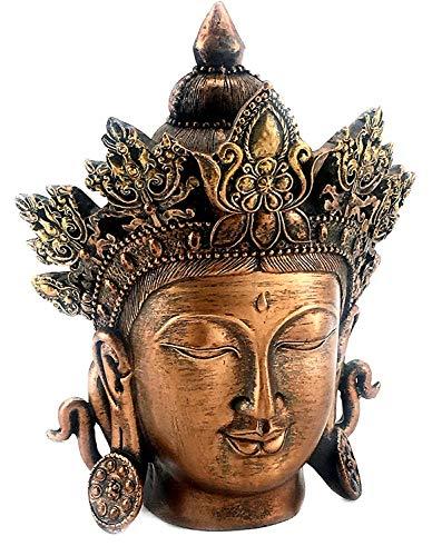 Bellaa 24665 Buddha Head Statue Guan Quan Kuan Yin 8 inch