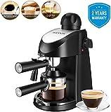 Macchina caffe espresso, Aicook 8 bar semiautomatica macchina caffe latte e cappuccino 2 in 1 con montalatte, 4 tazze, 800W, Senza BPA,nero
