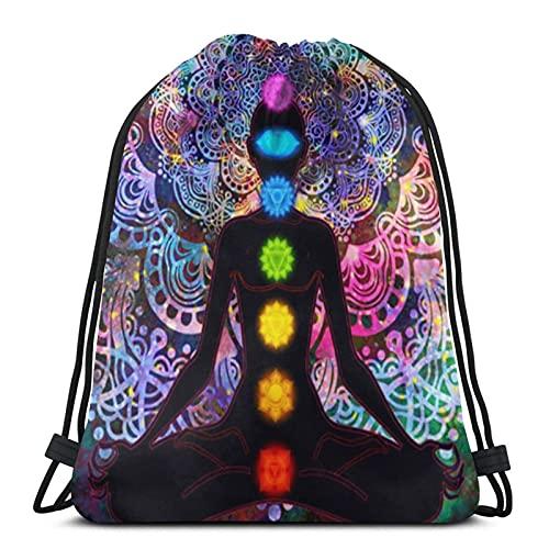 Seven Chakra - Tapiz para yoga, meditación, unisex, fútbol, natación, deportes, gimnasio, zapatos de viaje, con cordón, mochila plegable para mochila escolar, para niños, niñas, hombres y mujeres
