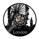 1 Pieza Londres Regalo Hecho a Mano Disco de Vinilo Reloj de Pared hogar Vintage Time City Negro decoración de habitación Moderna Regalo-Sin