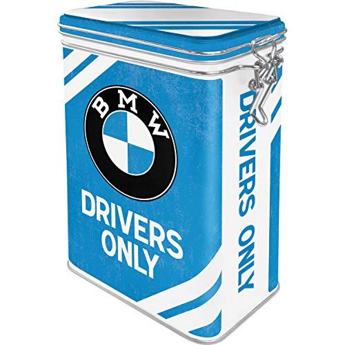 Nostalgic-Art Retro Kaffeedose BMW – Drivers Only – Geschenk-Idee für Auto Zubehör Fans, Blech-Dose mit Aromadeckel, Vintage Design, 1,3 l