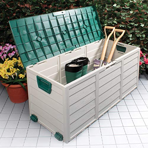 BARGAINS-GALORE OUTDOOR GARDEN PLASTIC STORAGE SEAT UTILITY CHEST CUSHION SHED BOX TOOLS TOYS