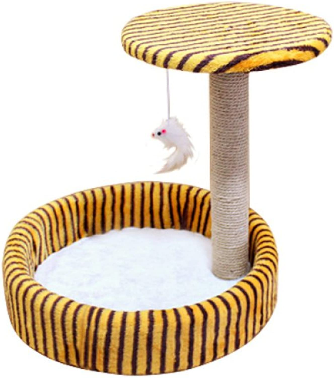 AYCC Cat Climbing Frame, Cute Cat Sisal Toy, Tree House Claw Cat Toy, Climbing Frame, Durable, Pet Supplies,Yellow