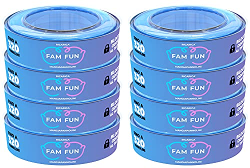 Fam Fun - Recambios Compatible con Cubo de Pañales AngelCare Comfort, Comfort Plus, Captiva y Deluxe, Foppapedretti Maialino, LitterLocker, II & Design - Juego de 8