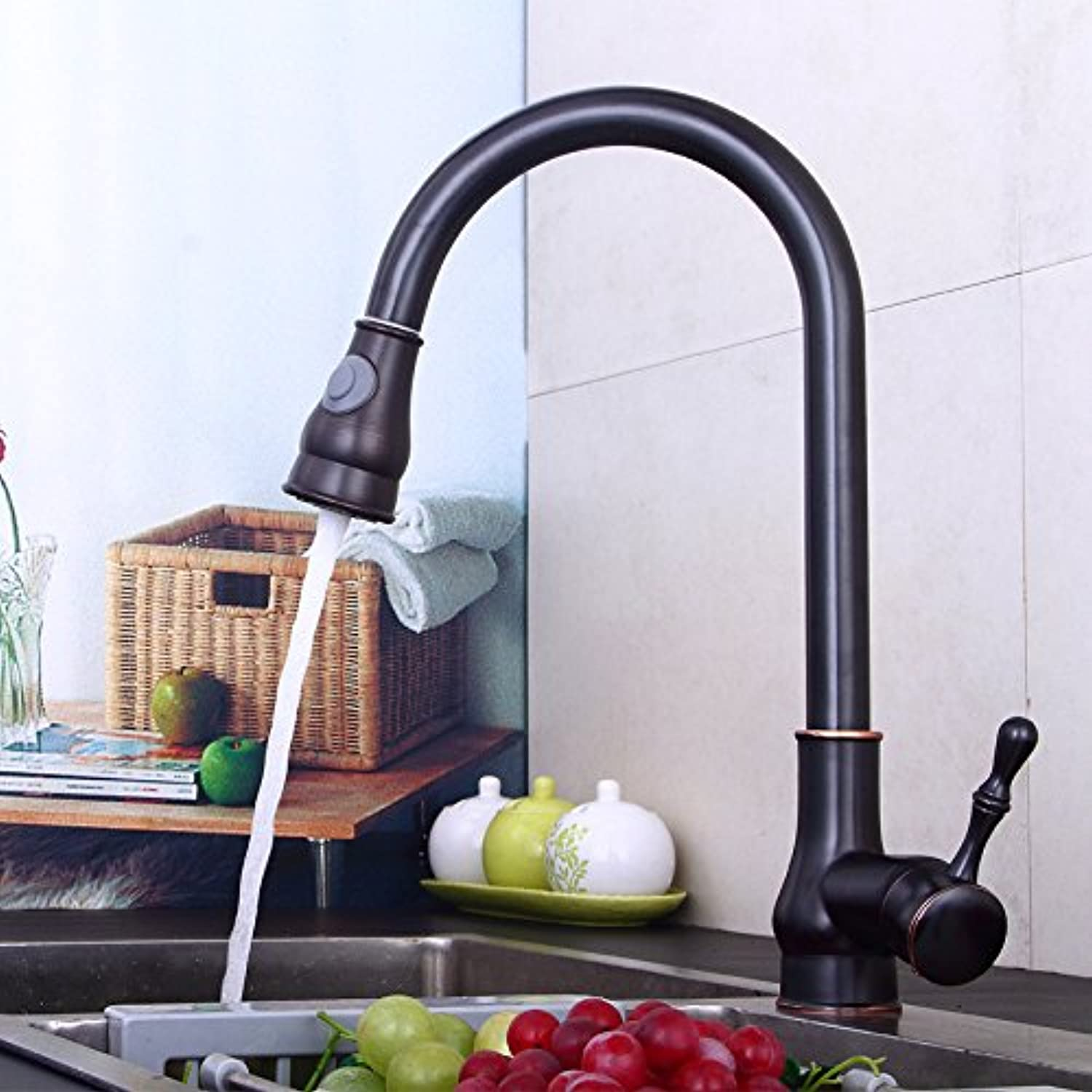 redOOY Taps Kitchen Multi-Function Black Copper Pull Faucet Kitchen Sink Water Dragon