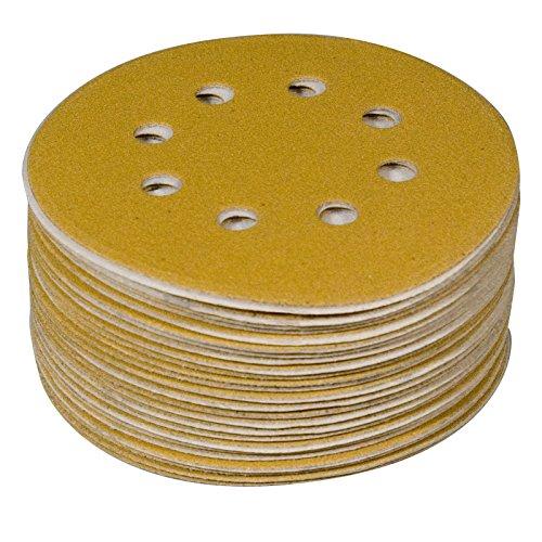 POWERTEC 44200XG-50 Lixadeira orbital de gancho e laço de lixa sortida, 8 furos | 10 de cada 80, 100, 120, 150, 220 de óxido de alumínio, ouro, pacote com 50