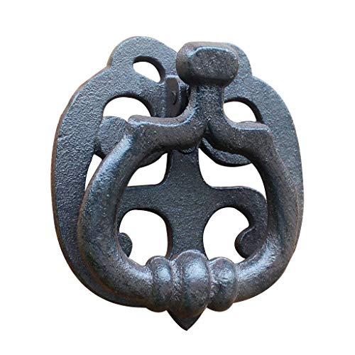Aldaba De Puerta De Anillo De Hierro Antiguo (Recubierto De Polvo Negro)-Negro-12.5x11.5cm(5x5Pulgadas)