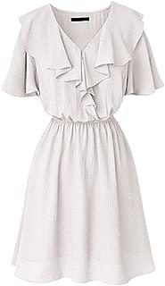 Women's Dresses Ruffled V-Neck Short Sleeve Casual Loose Plain Dresses Simple (Color : White, Size : 4XL)
