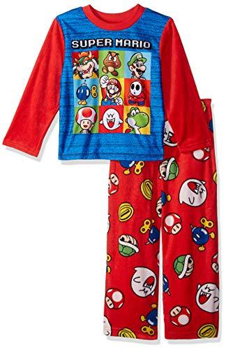 Super Mario Brothers Boys' Big Nintendo 2-Piece Fleece Pajama Set, Mario - Punch Red, 8