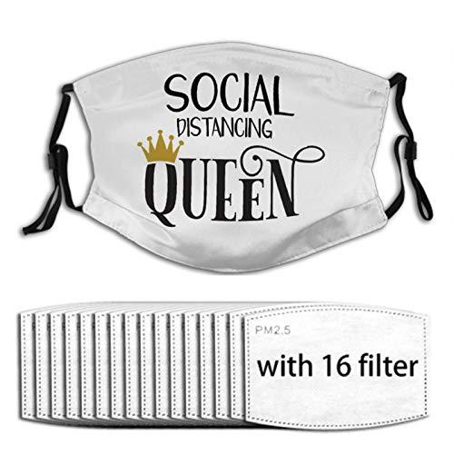 Nuberyl Social Distancing Queen 1 Unisex Verstellbare Gesichtsmaske Bandana Sturmhaube Schal 16 Austauschbare Filter Staubschutz